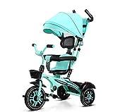 Tricycle Et Poussette pour Enfants 6 en 1 Siège Pivotant Réglable Évolutif Pare-Soleil Pliable Canne pour Enfant De 8 Mois À 6 Ans,Charge Maximale 50 Kg,Vert