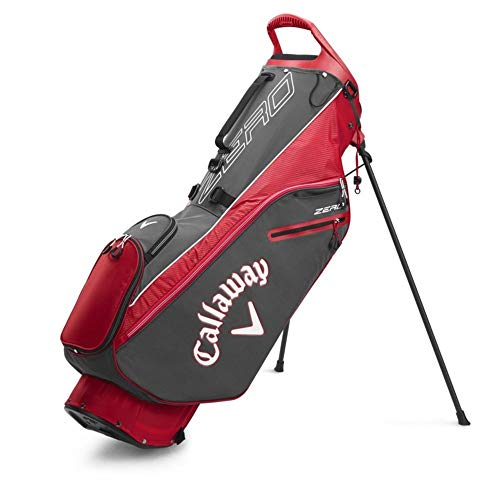 Callaway Golf 2020 Hyperlite Zero Lightweight Stand Bag (Charcoal/White/Red, Double Strap)