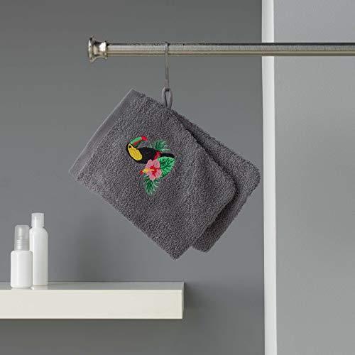 douceur d'intérieur 2 gants de toilette 16x21 cm eponge brodee toucalaos anthracite