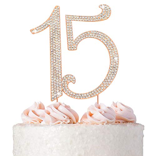 15 Cake Topper - Premium Rose Gold Metal - 15th Birthday or Anniversary Party - Sparkly Rhinestone Quinceanera Cake Topper Decoration Makes a Great Centerpiece - Now Protected in a Box