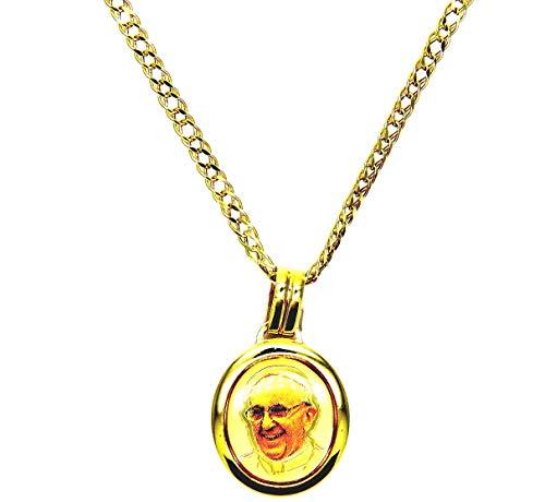 Collana Oro Giallo 18kt (750) Catena Rombo con Pendente Religioso Papa Francesco Cm 50 Uomo