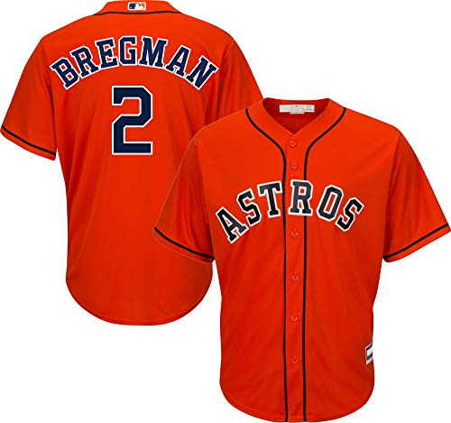 Outerstuff Alex Bregman Astros MLB Boys Youth 8-20 Cool Base Player Jersey (Orange Alternate, Youth Medium 10-12)