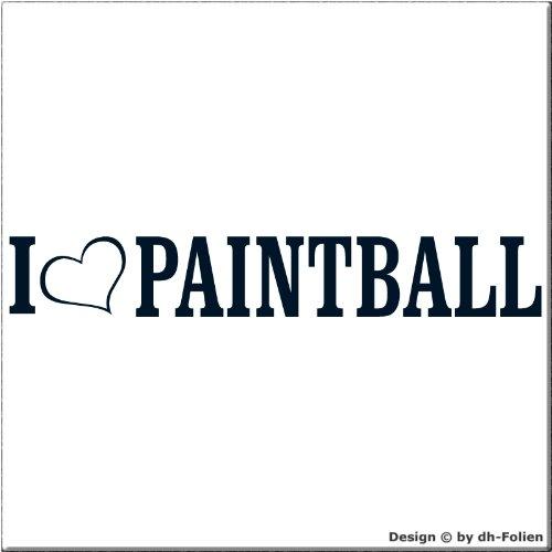 cartattoo4you AL-00872 | I LOVE (als Herz) PAINTBALL | Autoaufkleber Aufkleber FARBE stahlblau , in 23 weiteren Farben erhältlich , glänzend 20 x 3 cm Waschstrassenfest Versandkostenfrei , Motiv Copyright by dh-Folien