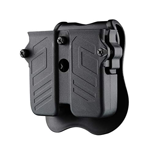 Bedone Double Magazine Holder, Universal Magazine Holster, 9mm .40 .45 Single & Double Stack Magazine Pouch for Glock/Sig sauer/S&W/Beretta/Taurus/H&K Pistol Mags, Adjustable OWB Paddle Mag Carrier