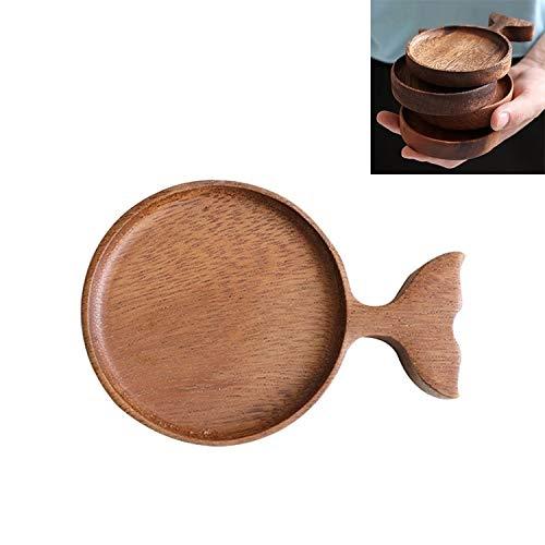 Pelze Sxy Kreative Holzfisch-Form-Küche Würzen Kleine Teller Dip Saucer QiuGe (Color : Wood)
