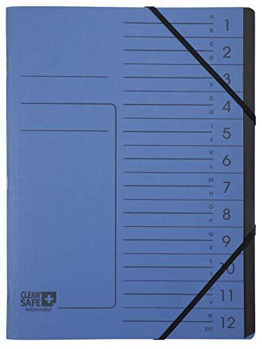 57122E Exacompta Classificatore spillato 12 scomparti Clean'Safe blu