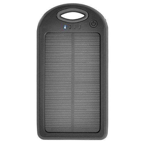 iprotect 12000mAh Solar Charger Power Bank Externer Akku Pack und Ladegerät in Schwarz für Smartphones, Tablets und Andere USB-Geräte inkl. Micro USB Kabel + Karabiner