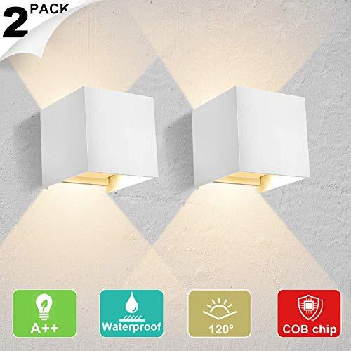 Lightess 2 Piezas Apliques de Pared LED 12W Lámpara de Pared Exterior...