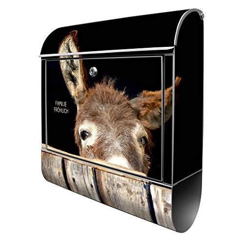 Banjado Design Briefkasten personalisiert mit Motiv Esel | Stahl pulverbeschichtet mit Zeitungsrolle | Größe 39x47x14cm, 2 Schlüssel, A4 Einwurf, inkl. Montagematerial