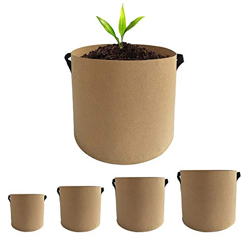 Beansfun 不織布ポット 深鉢 5サイズ1組 フェルトプランター 植木鉢 丸 植物育成 根域制限 野菜栽培 カーキ 3・5・7・10・15ガロン