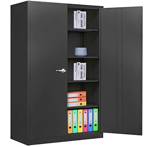 Black Metal Storage Cabinet Locking Steel Storage Cabinet with 4 Adjustable Shelves Tall Metal Utility Storage Cabinet 2 Door