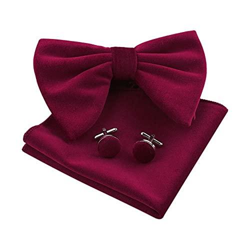 YUNHOME Cravatta Papillon Uomo Farfallino Cravattino Abito da Sposa in Tinta Unita retrò da Uomo in Velluto Ingoiante-Rose Red.