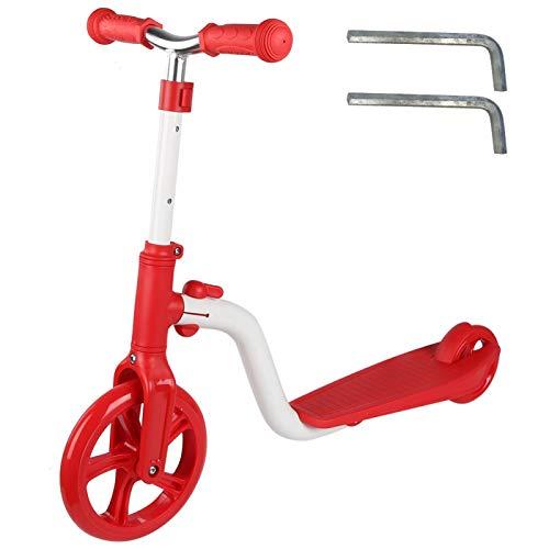 Shipenophy Scooter Plegable en línea Aleación de Aluminio Altura Ajustable Patada para niños Fiesta Familiar Vacaciones Niños Interior al Aire Libre(Red and White Two-Wheeled Scooter)