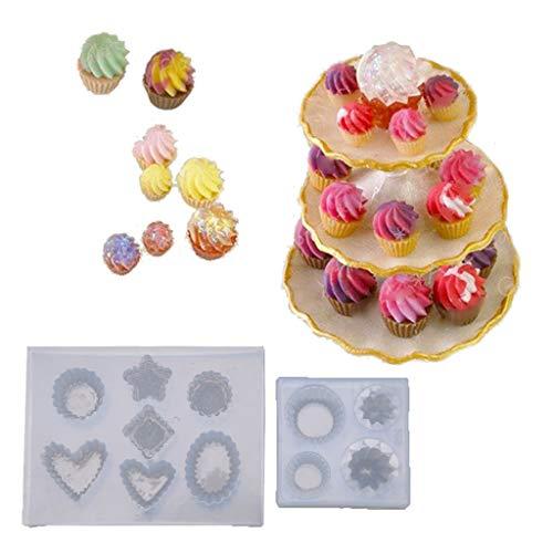 MENGSHI 2 piezas 3D mini llavero de silicona moldes de resina kit de taza de pastel de comida juego molde de resina epoxi para hacer manualidades