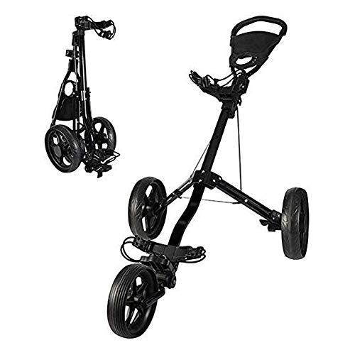HLR Golftrolley Zieh Golfcarts Golf Cart, 3-Rad Golf Trolley Swivel Schnell Folding Golf Pull Push Cart, Golfwagen mit Multi-Funktions-Panel, leicht zu öffnen