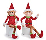 Posable Plush Elves Set of Boy Elf and Girl Elf with Bendable Arms and Legs Fun Christmas Decoration