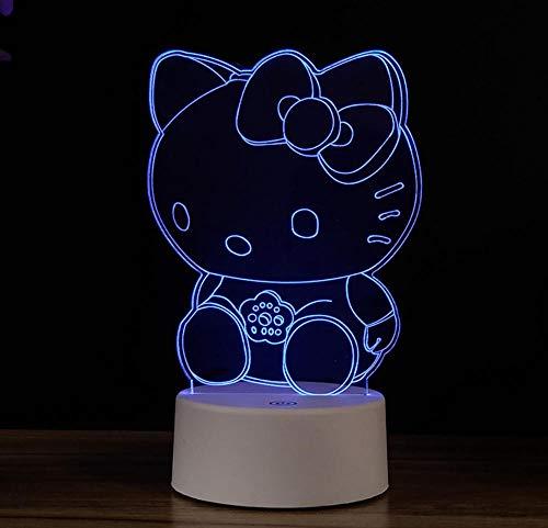 Nachtlichter 3D Nachtlichter Illusionslichter Bunte Touch USB Hello Kitty Kreative Geburtstag Stil Schlafzimmer Radio Lichter Wohnkultur