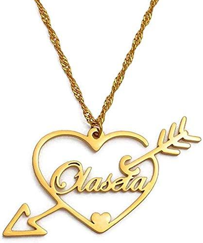 ZGYFJCH Co.,ltd Collar Mujer Collares Corazón Espada Nombre Personalizado Collares Pendientes Personalizar Pareja Esposa Nombre Personalizado Collares Joyería