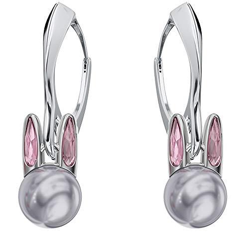 Beforya Paris – Conejo – Pendientes de plata – Black Diamond – Pendientes de plata 925 con perlas de Swarovski – Fantásticos pendientes con caja de regalo PIN/75