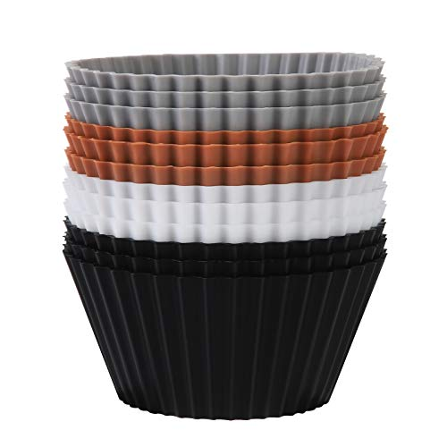 SARTNP Silicone Cupcake Baking Cups 12 Pack, Heavy Duty Silicone Baking Cups with Storage Bag, Reusable Muffins Cupcake Liners Holder, Non-stick Silicone Cake Molds Tin Cup, 4 Designer Colors