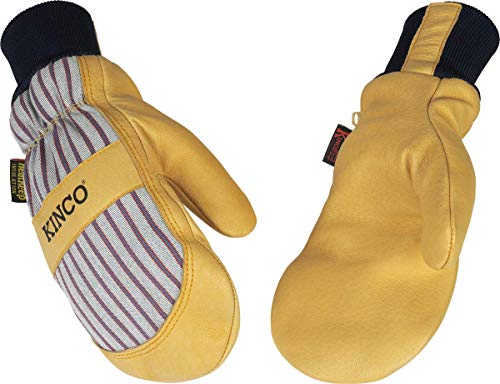 Kinco - Lined Premium Pigskin Leather Work and Ski Mitt, Heatkeep Thermal Insulation, Otto Striped Canvas, Fitted Knit Wrist, (Style No. 1927KWT)