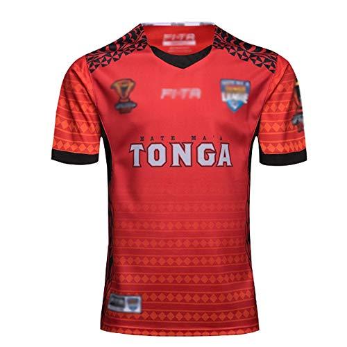 LQLD World Cups 2017 Tonga Rugby-Trikots, Herren Polyester Schnelltrocknung Rugby Polo T-Shirt Fans Jerseys Kurzärmelige Sportbekleidung,Photo Color,XL