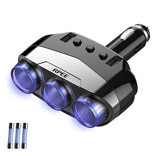 RPEE Cigarette Lighter Adapter Splitter 3 Sockets Cigarette Lighter Splitter 12V/24V Power DC Outlet Splitter Dual Smart USB Ports Car Charger for IPhone, Samsung, GPS Dashcam
