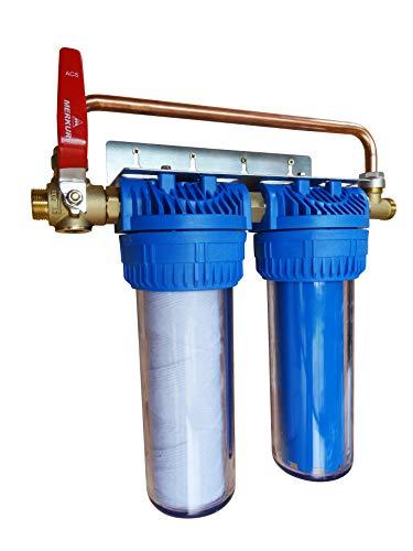 AQUAWATER - 104041 - Station filtre double avec cartouches de filtration et anticalcaire/ anticorrosion - Facilité de raccordement inégalée - Durée des cartouches : 24 mois