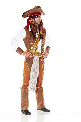 less is more Herren-Kostüm Fluch der Karibik Pirat 2 Karneval Piratenkostüm Jack Sparrow, Größe:M