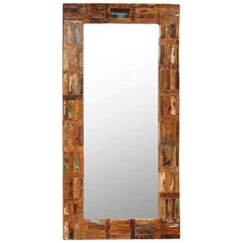 yorten Wandspiegel Wohnzimmer Spiegel mit Holzrahmen Badspiegel Spiegel Flur Recyceltes Massivholz 60 x 120 cm (L x H)
