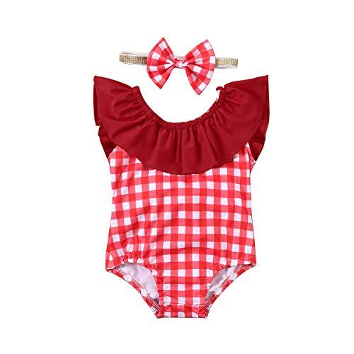 Siyova Costume da Bagno Bambina Costumi Senza Schienale con Spalle Scoperte Scozze + Fascia per Capelli con Fiocco 2 Pezzi Completo Bambina Neonata Vestito Mare Estate (Rosso, 3-6mesi)