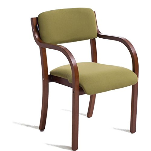 Rollsnownow Chaise de salle à manger en bois massif coussin vert moderne Chaise de bureau chaise simple bureau moderne chaise (Color : Brown wooden frame)