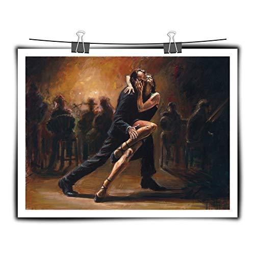 Leinwanddruck,Malerei Auf Leinwand Wandkunst,Männer Und Frauen Tanzen Tango Hd Poster Moderne Abstrakte Leinwanddruck Wandkunst Inkjet Malerei Bild Pop Kunstwerk Für Wohnzimmer Home Wall Decor,50X70