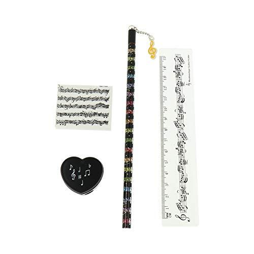 Schreibset mit Bleistift schwarz, Radiergummi, Spitzer und Lineal Notenlinien - schönes Geschenk für Musiker