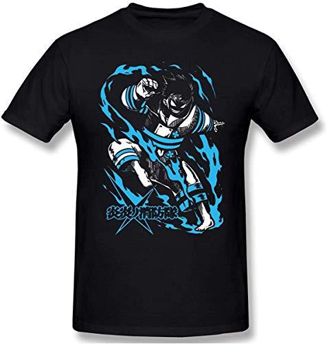 Biooarc Men's Anime Fire Force Enen No Shouboutai - Shinra Kusakabe Short Sleeve Top T-Shirt
