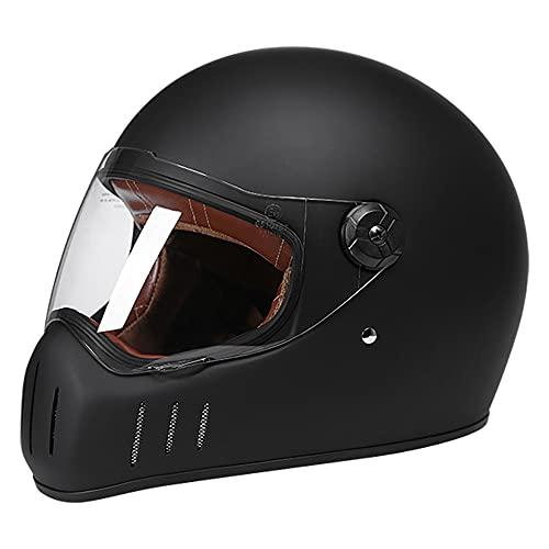 KFL Casco de Motocicleta - Casco de Cara Completa Mate Negro con Tapa Frontal, Motocicleta de Carreras ECE BMX Casco para Adulto, pequeño (55-56cm)