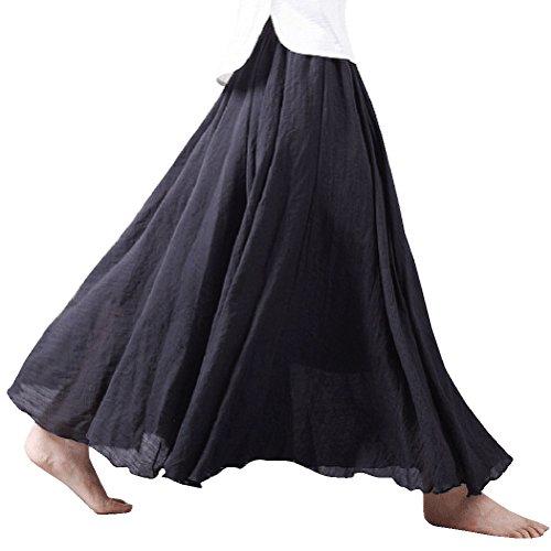 Nlife Frauen böhmische Polyester Double Layer elastische Langer RockMaxi, Black, 95CM