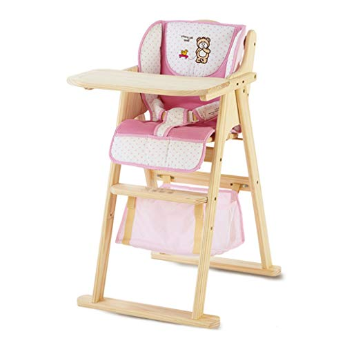 木製ベビーハイチェア、無垢材折りたたみ子供用ダイニングチェア多機能ポータブル給餌椅子ブナフレームラウンジチェア、取り外し可能トレイ6ヶ月から6