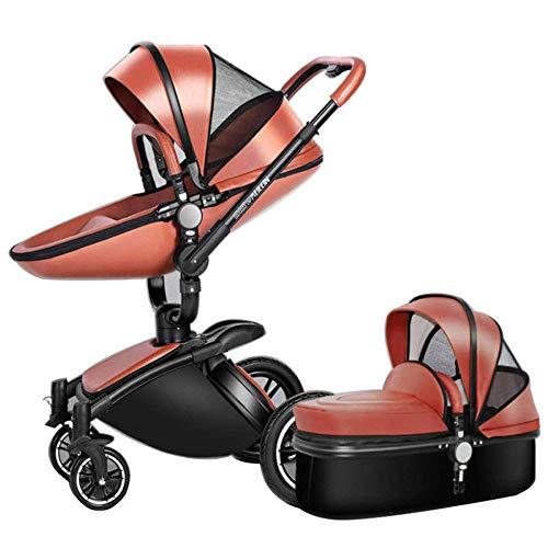 Hohe Landschaft Kinderwagen Leder Zwei-Wege-Auto 360-Grad-Falten-Stoßdämpfer Kann Sitzen Baby Auto (2 In 1: Sitz + Schlafkorb),Brown