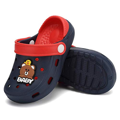 Toddler Clog Slippers Sandals|Slip On Garden Shoes for Boys and Girls|Water Shoes Sneakers Cartoon Slides for Children Beach Pool ShowerU820SDDX1-Navy-145