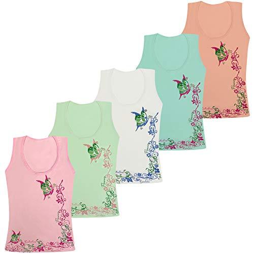 LOREZA ® 5 Stück Mädchen Baumwolle Unterhemden Tank Top Kinder - Butterfly - 92-98 (2-3 Jahre) - Modell 1