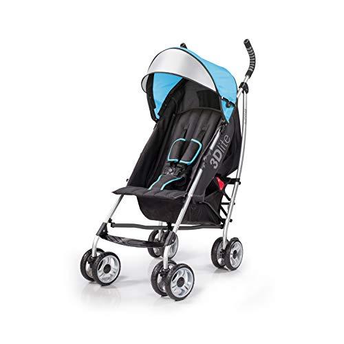 Summer 3Dlite Convenience Stroller, Blue, Lightweight Stroller with Aluminum Frame, Large Seat Area, 4 Position Recline, Extra Large Storage Basket, Infant Stroller for Travel and More