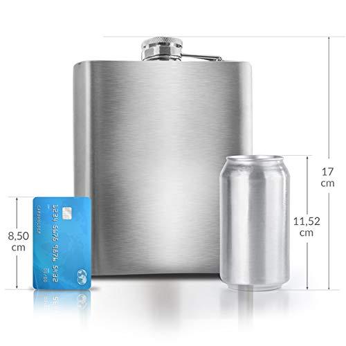 0,5 L Flachmann Trinkflasche aus Edelstahl Silber mit Schraubverschluss - Auslaufsicher mit 500 ml Fassungsvolumen 17x13x3 cm - Mehrweg Schnapsflasche Taschenflasche Halber Liter 16 oz