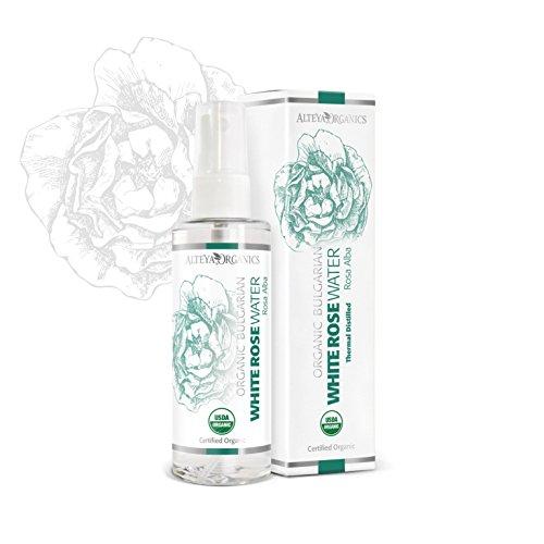 Alteya Organic agua floral rosa blanca 100 ml – spray - USDA producto certificado puro y autentico, destilada al vapor de flor de rosa Alba vendida directamente por el productor propio Alteya Organics