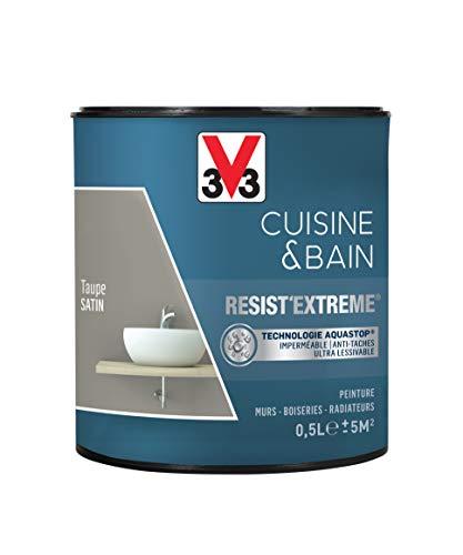 V33 Peinture multi-supports monocouche Cuisine & Bain ResistExtrême® Satin, Taupe, 0,5L