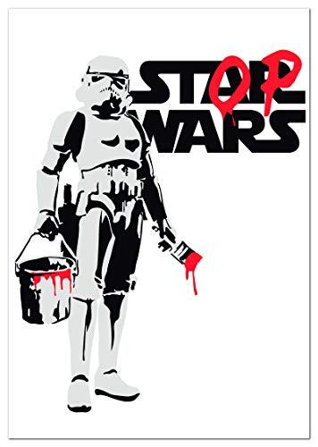 Panorama Póster Stop Wars Banksy Vertical 70x100cm - Impreso en Papel 250gr - Póster Pared - Láminas para Enmarcar - Cuadros Decoración Salón - Pósters Decorativos - Cuadros Modernos