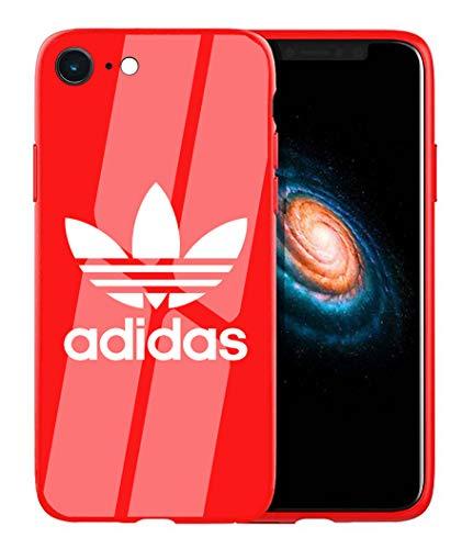 Adi Logo iPhone SE 2020 Custodia, iPhone 7/8 Custodia, Sottile Lucido Morbido TPU Silicone Parte Posteriore in Vetro Temperato Case Bumper Cover per iPhone SE(2020)/7/8 - Rosso