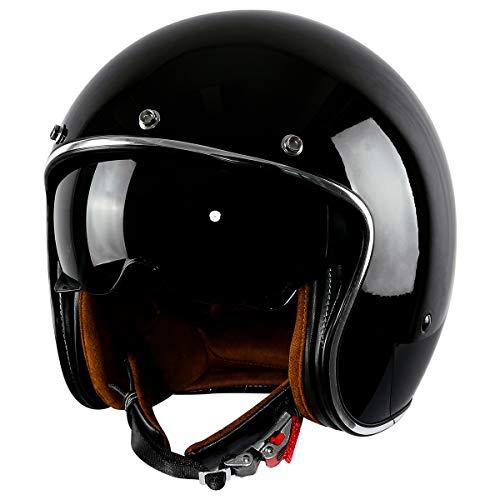 XFMT DOT Retro Style Motorcycle Open Face 3/4 Helmet with Sun Visor for Chopper Scooter Cruiser (Gloss Black, X-Large)