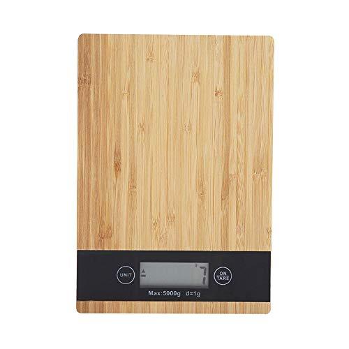 Balanza electrónica de la cocina eléctrica de la pantalla LED de bambú de la escala que pesa la comida