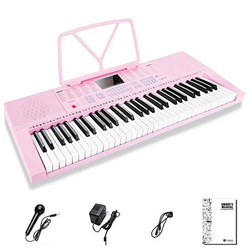 Vangoa Elektronische Klaviertastatur 61 Mini Tasten für Anfänger mit 3 Unterrichtsmodi, Mikrofon, 350 Töne, 350 Rhythmus, 30 Demo-Songs, Rosa